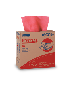 Kimberly-Clark® WypAll* X80 Wipers ~ Pop-Up Box - Red (1 Box, 80 Wipers)