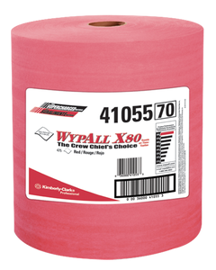 Kimberly-Clark® WypAll* X80 Wipers ~ Jumbo Roll - Red (1 Roll, 475 Wipers)