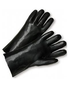 "PVC InterlockGloves~ Black, Smooth Grip, 12"" Length (1 Pair)"